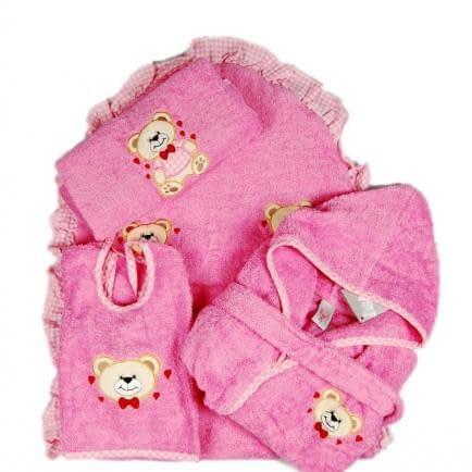 """Фото -Набір махрових рушників для купання 4 шт. Home Line """"Етебір Бейбі"""" (рожевий) 56702"""