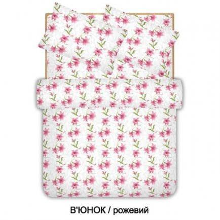 """Фото -Євро комплект постільної білизни Home Line """"В'юнок"""" (рожевий) 96549"""