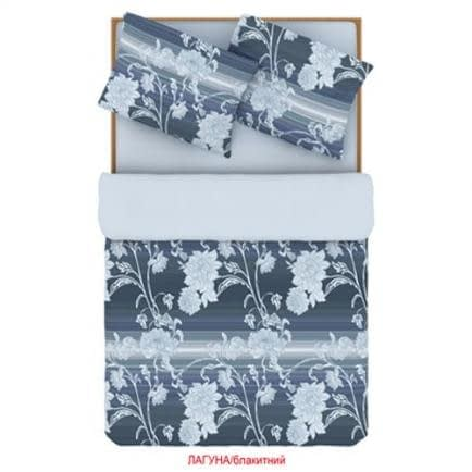 """Фото -Півтораспальний комплект постільної білизни Home Line """"Лагуна"""" (блакитний) 88515"""